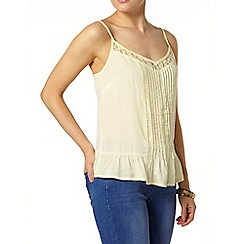 Dorothy Perkins - Lemon lace insert camisole top