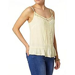 Dorothy Perkins - Lemon lace insert camisole top