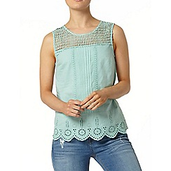 Dorothy Perkins - Green crochet yoke shell top