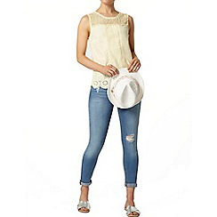 Dorothy Perkins - Lemon crochet yoke shell top