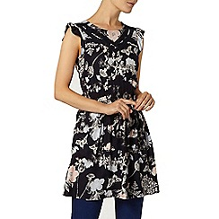 Dorothy Perkins - Navy lace detail floral tunic