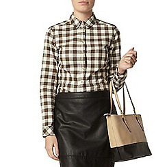 Dorothy Perkins - Khaki and ivory gingham shirt