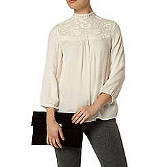 Dorothy Perkins - Ivory lace yoke victoriana top