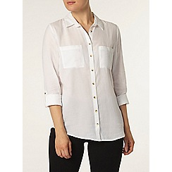 Dorothy Perkins - White twill safari shirt