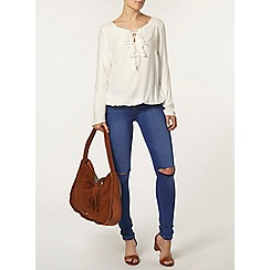 Dorothy Perkins - Ivory ruffle front 70s blouse