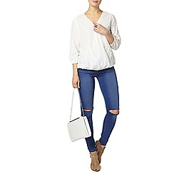 Dorothy Perkins - Wrap front broderie shirt