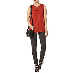Dorothy Perkins - Rust broderie yoke shell top