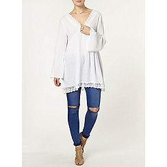 Dorothy Perkins - White lace detail v-neck tunic