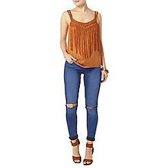 Dorothy Perkins - Orange fringed macrame camisole top