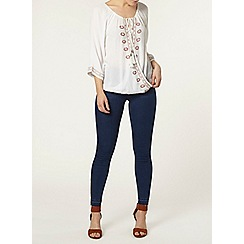Dorothy Perkins - Ivory embroidered wrap top