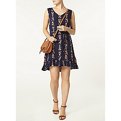 Dorothy Perkins - Navy floral frill hem dress