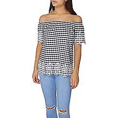 Dorothy Perkins - Gingham embroidered bardot top