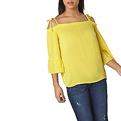 Dorothy Perkins - Yellow tie 3/4 sleeves top