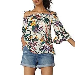 Dorothy Perkins - Ivory tropical 3/4 sleeves top