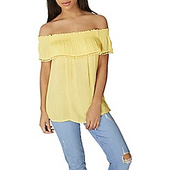 Dorothy Perkins - Yellow pom  trim bardot top