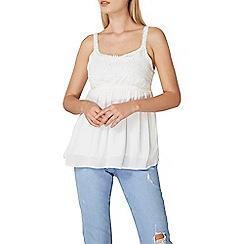 Dorothy Perkins - Ivory lace yoke crinkle camisole top