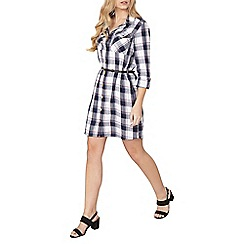 Dorothy Perkins - Navy check belted shirt dress