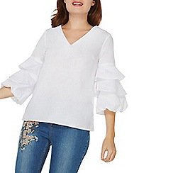 Dorothy Perkins - Ivory v-neck puff sleeves top