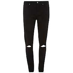 Dorothy Perkins - Tall black knee rip 'bailey' jeans