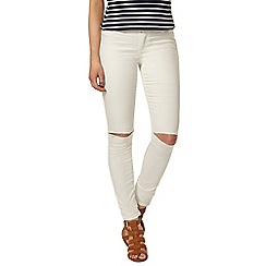 Dorothy Perkins - Ecru knee rip frankie jeggings