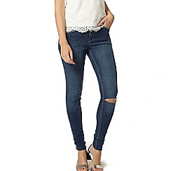 Dorothy Perkins - Midwash darcy anke grazer jeans with knee rip
