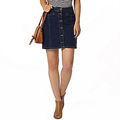 Dorothy Perkins - Mid wash button denim mini skirt