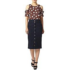 Dorothy Perkins - Indigo button pencil skirt