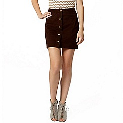 Dorothy Perkins - Chocolate denim button mini skirt