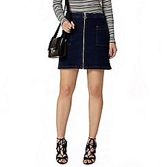 Dorothy Perkins - Midwash ring pull zip denim skirt