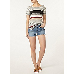 Dorothy Perkins - Midwash raw hem denim shorts