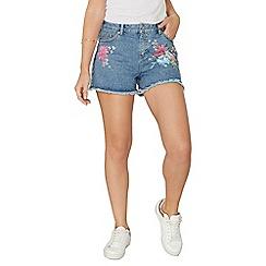 Dorothy Perkins - Mid wash floral print shorts
