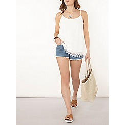 Dorothy Perkins - Raw hem lace denim shorts