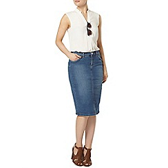 Dorothy Perkins - Plait midi denim skirt