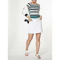 Dorothy Perkins - White raw hem denim skirt
