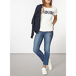 Dorothy Perkins - Embroidered straight leg jeans