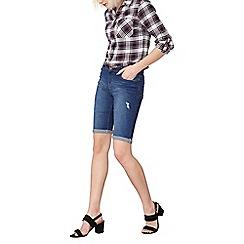 Dorothy Perkins - Midwash abrasion denim knee shorts
