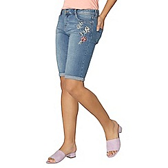 Dorothy Perkins - Floral embroidered denim knee shorts