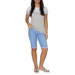 Dorothy Perkins - Bright blue plait denim knee shorts