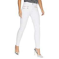 Dorothy Perkins - White rose gold zip 'bailey' jeans
