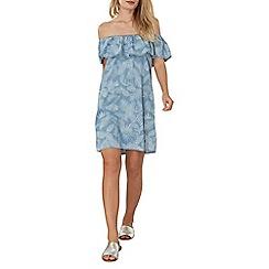 Dorothy Perkins - Blue palm tree bardot dress
