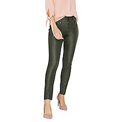 Dorothy Perkins - Khaki zip coated Frankie- super skinny fit jeans