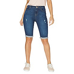 Dorothy Perkins - Mid wash blue shaping knee shorts