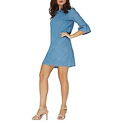 Dorothy Perkins - Blue mid wash denim flute sleeves shift dress
