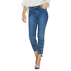Dorothy Perkins - Blue mid wash embellished straight fit jeans