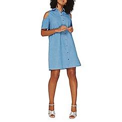 Dorothy Perkins - Mid wash denim cold shoulder shirt dress