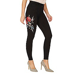 Dorothy Perkins - Black floral embroidered skinny jeans