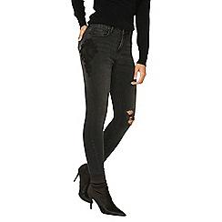 Dorothy Perkins - Black 'Darcy' lace applique ankle grazer jeans