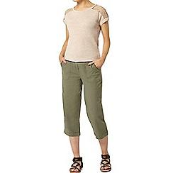 Dorothy Perkins - Khaki linen crop trousers