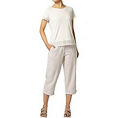 Dorothy Perkins - Stone stripe linen crop trousers