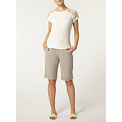 Dorothy Perkins - Stone linen knee short